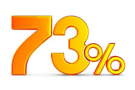seventy three percent on white background. Isolated 3D illustration Stockfoto