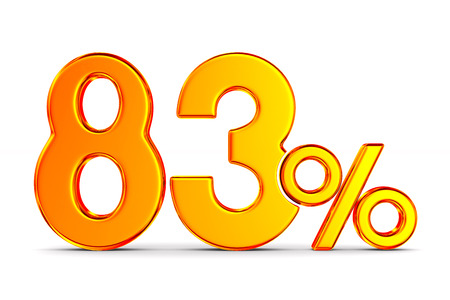eighty three percent on white background. Isolated 3D illustration