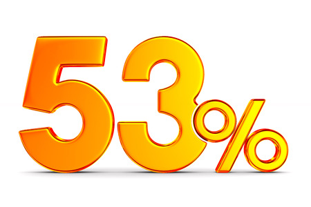 fifty three percent on white background. Isolated 3D illustration Stockfoto