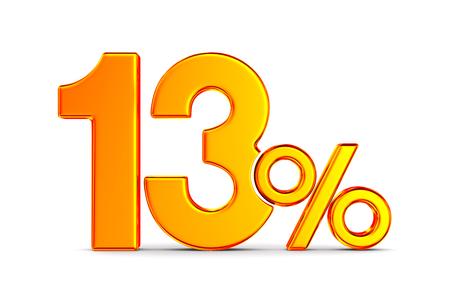 thirteen percent on white background. Isolated 3D illustration Stockfoto