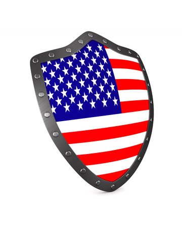shield with USA flag on white background. Isolated 3D illustration Archivio Fotografico - 129655270