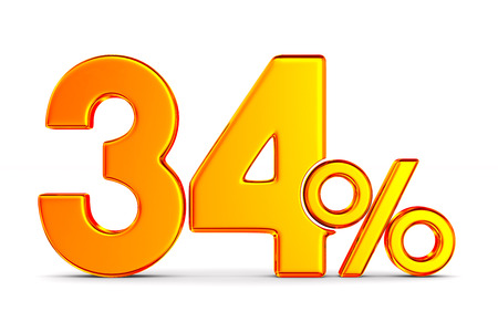 thrity four percent on white background. Isolated 3D illustration