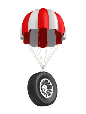 parachute and wheel on white background. Isolated 3D illustration