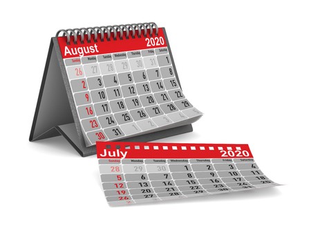 2020 year. Calendar for August. Isolated 3D illustration