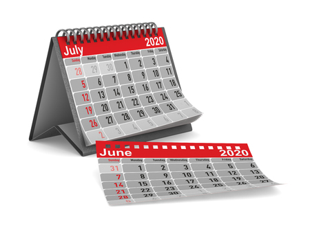 2020 year. Calendar for July. Isolated 3D illustration
