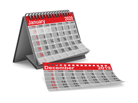 2020 year. Calendar for January. Isolated 3D illustration Imagens