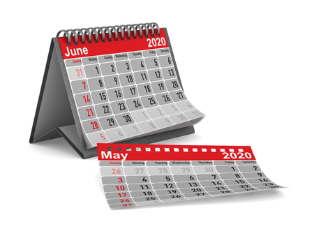 2020 year. Calendar for June. Isolated 3D illustration Imagens
