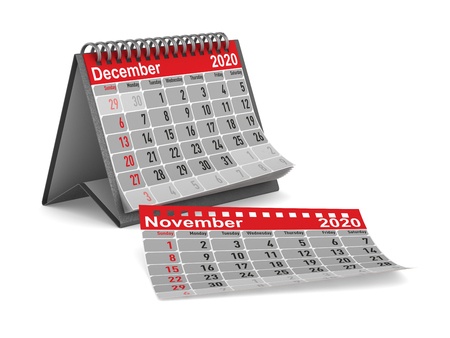2020 year. Calendar for December. Isolated 3D illustration