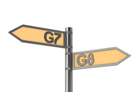 guidepost with sign G7 and G8 group on white background. Isolated 3D illustration Фото со стока