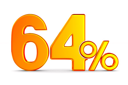sixty four percent on white background. Isolated 3D illustration