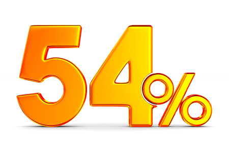 fifty four percent on white background. Isolated 3D illustration