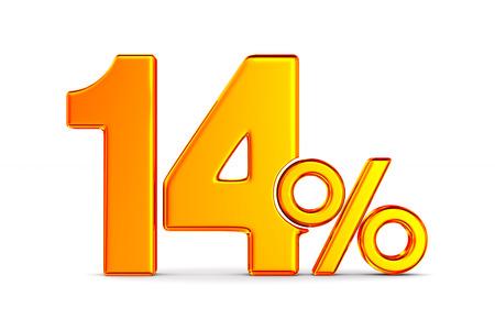 fourteen percent on white background. Isolated 3D illustration Stockfoto