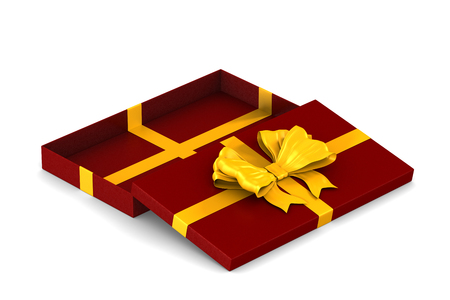 open red box with golden bow on white background. Isolated 3D illustration