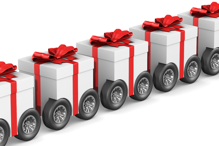 gift box with wheel on white background. Isolated 3D illustration