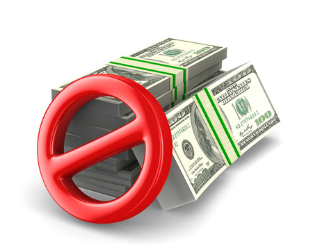 no cash money on white background. Isolated 3D illustration