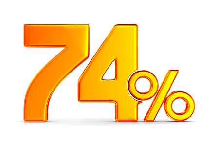 seventy four percent on white background. Isolated 3D illustration Stockfoto