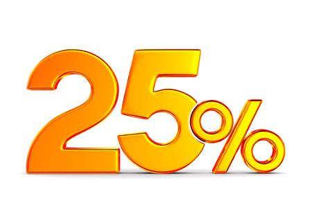twenty five percent on white background. Isolated 3D illustration Archivio Fotografico - 129655308