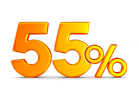 fifty five percent on white background. Isolated 3D illustration