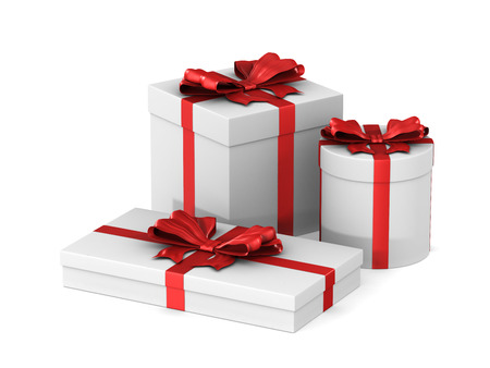 three white boxes with red bow on white background. Isolated 3D illustration