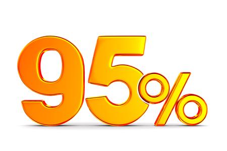 ninety five percent on white background. Isolated 3D illustration