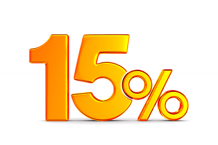 fifteen percent on white background. Isolated 3D illustration Stockfoto