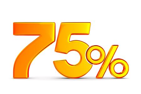 seventy five percent on white background. Isolated 3D illustration Stockfoto