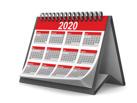 2020 year calendar on white background. Isolated 3D illustration