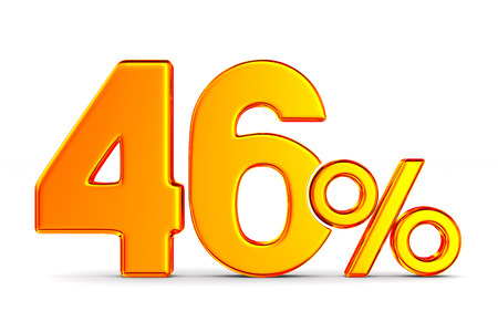 fourty six percent on white background. Isolated 3D illustration