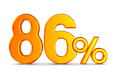 eighty six percent on white background. Isolated 3D illustration