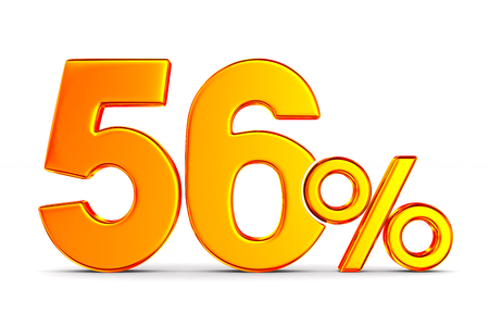 fifty six percent on white background. Isolated 3D illustration Banco de Imagens