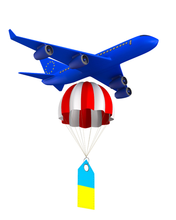 Concept EU and ukraine on white background. Isolated 3D illustration