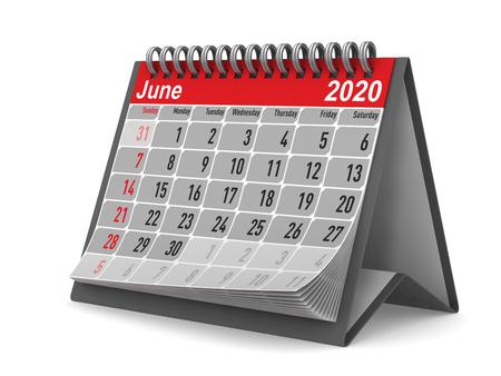 2020 year. Calendar for June. Isolated 3D illustration Zdjęcie Seryjne