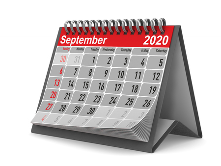 2020 year. Calendar for September. Isolated 3D illustration Zdjęcie Seryjne