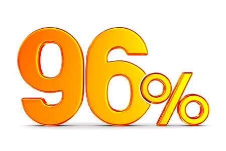 ninety six percent on white background. Isolated 3D illustration