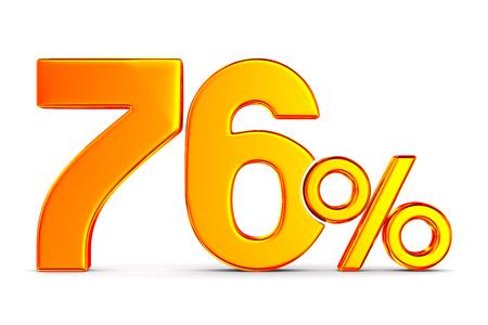 seventy six percent on white background. Isolated 3D illustration