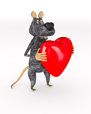 rat with red heart on white background. Isolated 3d illustration Stock fotó