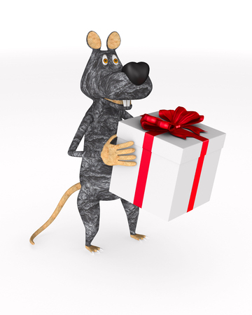 rat with gift box on white background. Isolated 3d illustration Stock fotó