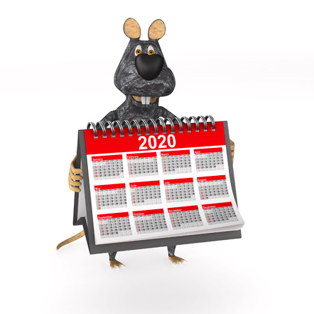 rat with calendar on white background. Isolated 3d illustration