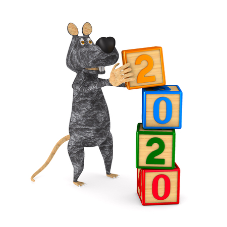 2020 year of rat on white background. Isolated 3d illustration