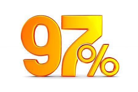 ninety seven percent on white background. Isolated 3D illustration