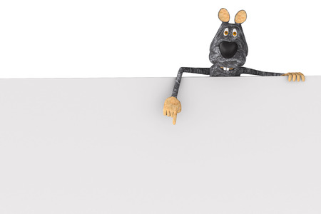 rat with banner on white background. Isolated 3D illustration