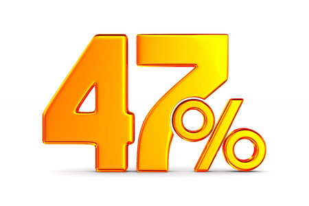 fourty seven percent on white background. Isolated 3D illustration Banco de Imagens - 131302129