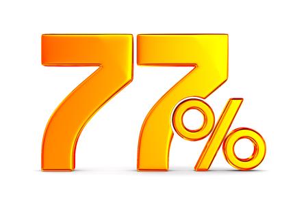 seventy seven percent on white background. Isolated 3D illustration