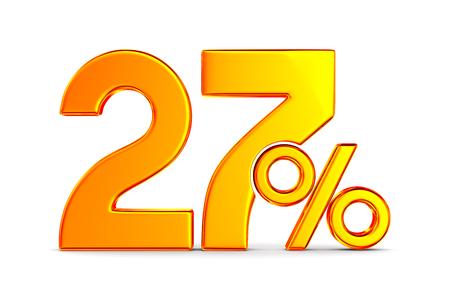 twenty seven percent on white background. Isolated 3D illustration