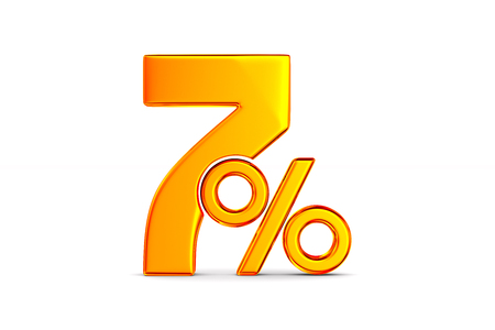 seven percent on white background. Isolated 3D illustration