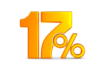 seventeen percent on white background. Isolated 3D illustration