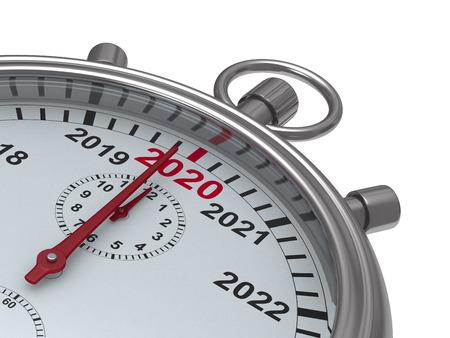 year calendar on stopwatch. Isolated 3D illustration Zdjęcie Seryjne