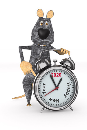 rat and alarm clock on white background. Isolated 3D illustration Stock fotó