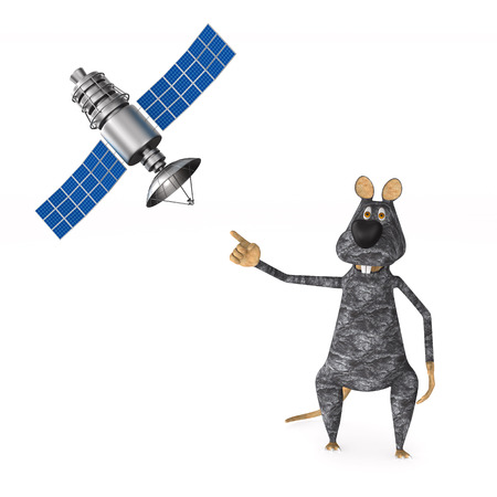 rat with satellite on white background. Isolated 3d illustration