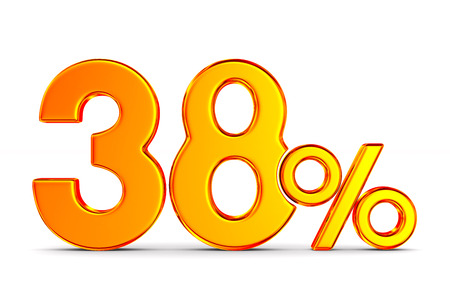thrity eight percent on white background. Isolated 3D illustration